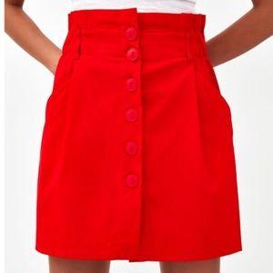 Zara Red Paperbag Waist Button Skirt